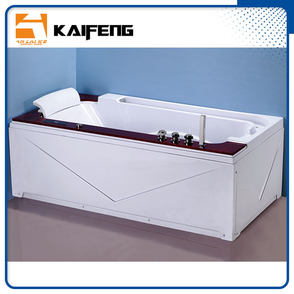 Luxury Single Jacuzzi Tub Air Jet Bathtub With Oak Wood Bead Computer Controller